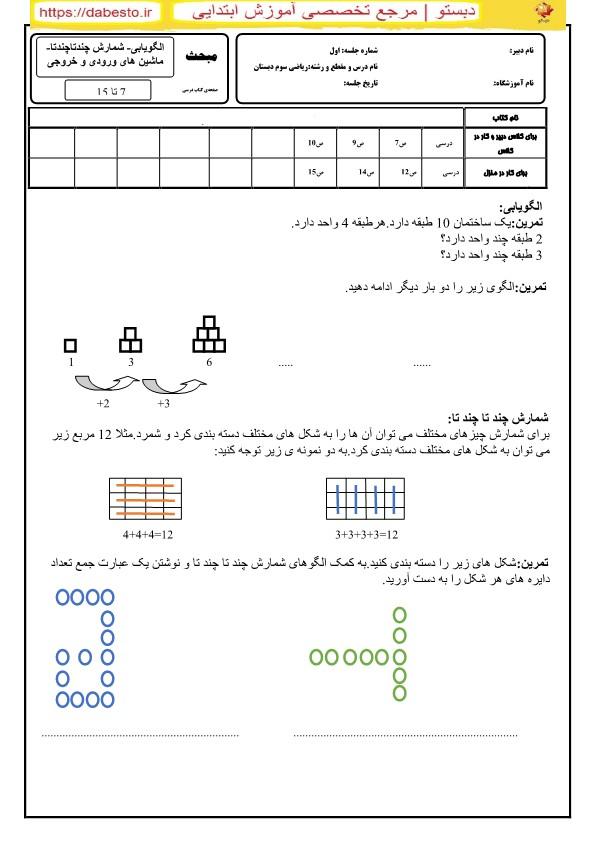 الگویابی شمارش چندتاچندتا ماشین های ورودی و خروجی ریاضی دوم ابتدایی