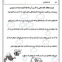 کاربرگ فارسی دوم درس چوپان راستگو