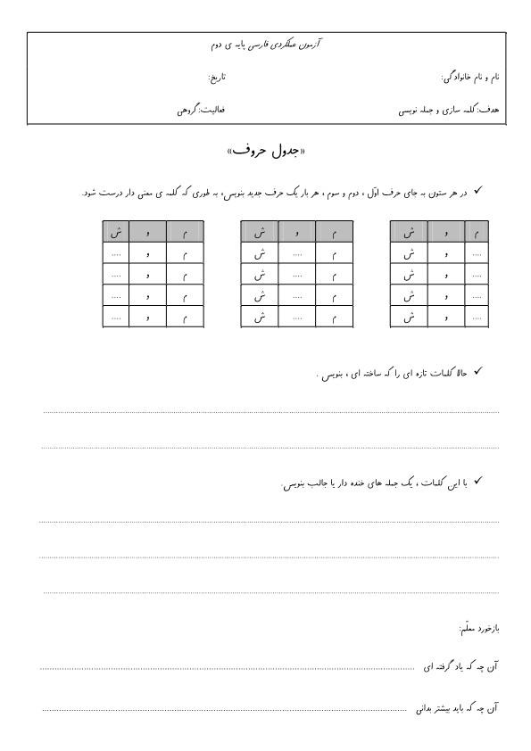 آزمون عملکردی فارسی کلمه سازی و جمله نویسی دوم ابتدایی