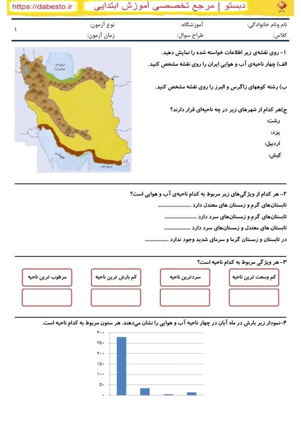 آزمون مطالعات اجتماعی چهارم دبستان درس 17نواحی آب و هوایی ایران