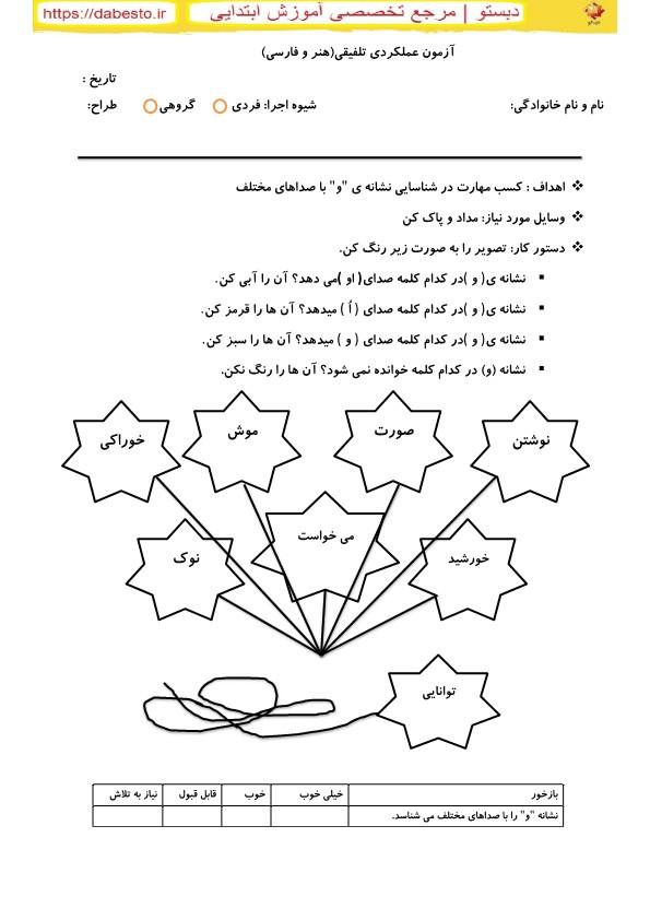 ازمون عملکرد تلفیقی هنر و فارسی