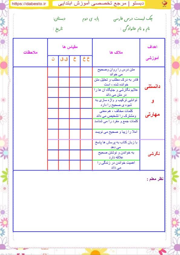 چک لیست درس  فارسی دوم ابتدایی