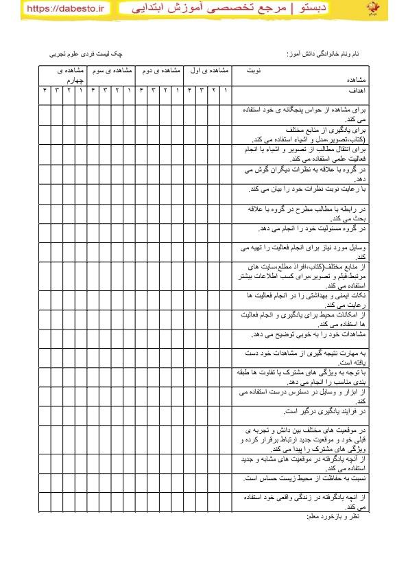 چک لیست فردی علوم دوم ابتدایی 2099322809
